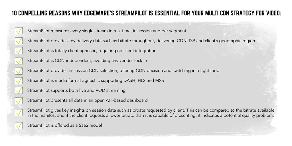 Multi CDN Strategy - 10 reasons to consider Edgeware StreamPilot